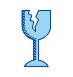 Blue contour of fragile packaging symbol broken vector