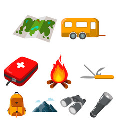 camping set icons in cartoon style big collection vector image