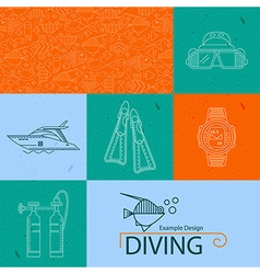 icon collection diving vector image vector image