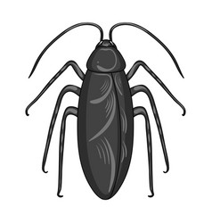 Insect cockroach single icon in monochrome style vector