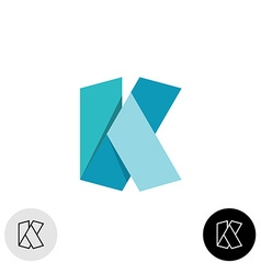Letter K flat origami wide 3D ribbon style logo vector image vector image