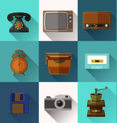 retro object icons vector image