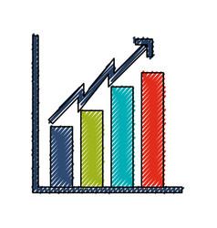 Scribble bar chart icon vector