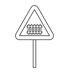 Warning road sign icon outline style vector