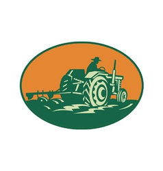 Farmer Worker Driving Farm Tractor vector image vector image