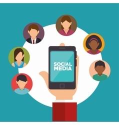 hand holds smartphone social media communication vector image