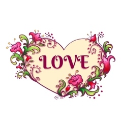 Happy valentine day Heart with flowers and love vector image vector image