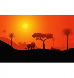 Savanna landscape vector image