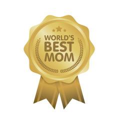 world best mom badge award vector image