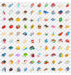 100 cute icons set isometric 3d style vector
