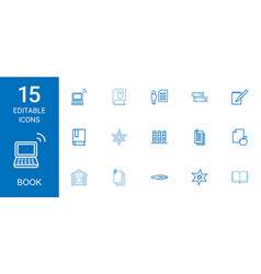 15 book icons vector