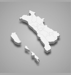 3d isometric map west sumatra is a province of vector