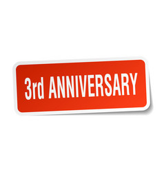 3rd anniversary square sticker on white vector image
