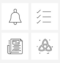4 universal line icons for web and mobile bell vector