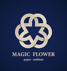 Abstract magic paper flower eternity emblem vector
