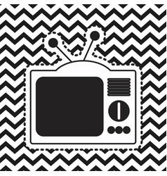 analog television sticker on pop art zig zag vector image