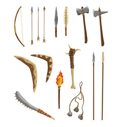 Ancient age stone tools and weapon for hunting vector