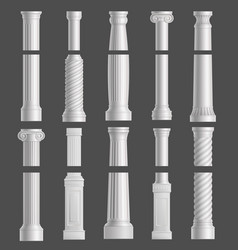 antique columns set isolated on grey background vector image