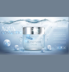 Aqua cream moisturizing cosmetic vector