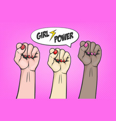 Background with three raised women s fist in pop vector