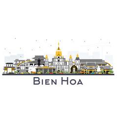 Bien hoa vietnam city skyline with gray buildings vector