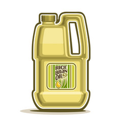 big yellow plastic bottle with rice bran oil vector image