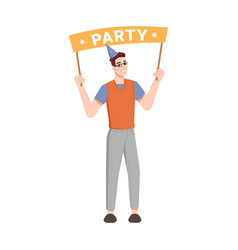 birthday party greeting banner in man hands cone vector image
