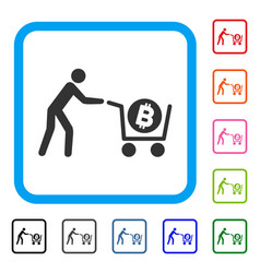bitcoin purchase cart framed icon vector image