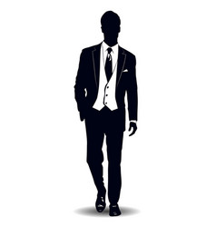Black and white silhouette a man in a business vector