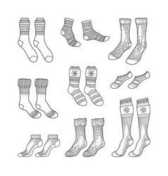 black engraved socks hand drawn ink drawing vector image