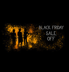 black friday sale off banner with people vector image vector image