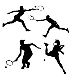 Black silhouette of tennis player on white vector