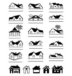 Buildings black signs logo set vector