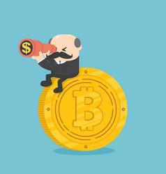 Businessman boss sit on coins vector