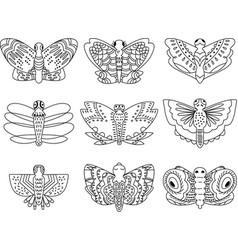 Butterflies hand sketch outline vector