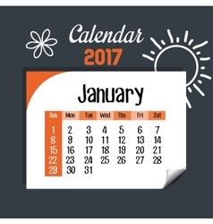Calendar january 2017 template icon vector