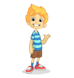 cartoon boy presenting vector image