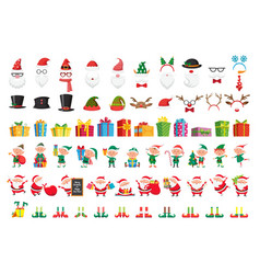 cartoon christmas collection xmas hats and new vector image