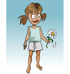 Cartoon funny girl guessing on flower camomile vector