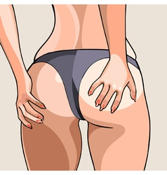 Cartoon sexy female buttocks in a thong vector