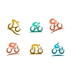 Colorful cycling and bicycles icons vector image vector image