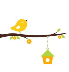 Cute beautiful spring birdie on tree branch vector image