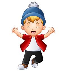 Cute little boy raising hands vector