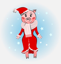 Cute pig female weae coat vector