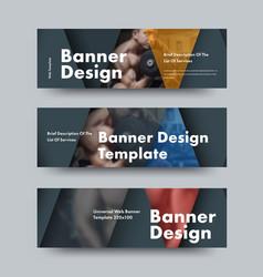 design black horizontal web banners vector image