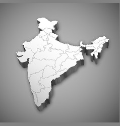 Detailed 3d map of india asia with all states vector