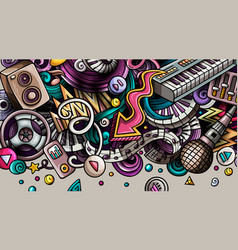 disco music hand drawn doodle banner cartoon vector image