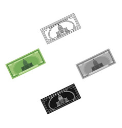 dollar bill icon in cartoonblack style isolated vector image