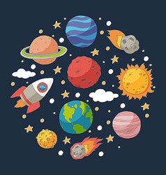 Doodle planets and the sun on blackboard vector image