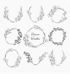 Doodle wreaths with branches herbs plants vector